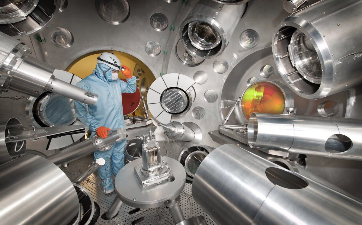 Target chamber in the Orion laser facility, AWE Aldermaston. Credit: AWE